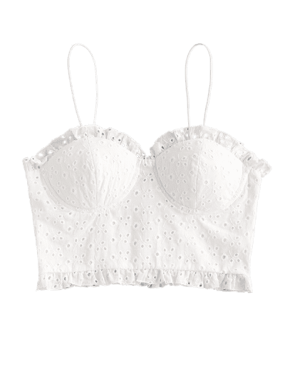 ZAFUL Broderie Anglaise Smocked Padded Cami Top