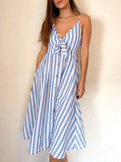 ZAFUL Knot Striped Button Down Cami Dress - Multi-a M