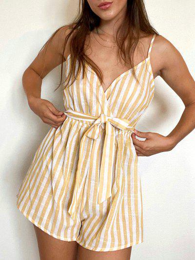 ZAFUL Striped Belted Cami Wide Leg Romper - Multi-b S
