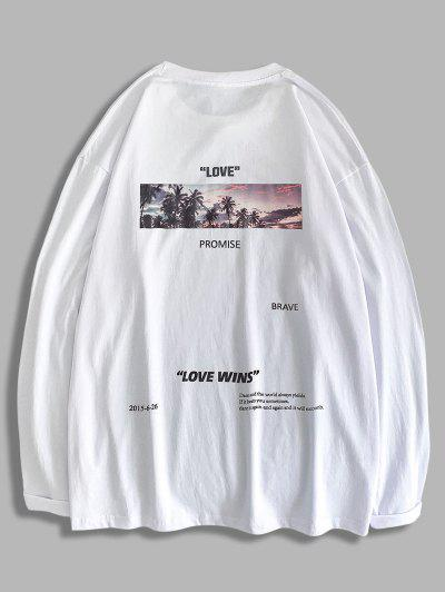 Love Promise Palm Tree Graphic T-shirt - White 2xl