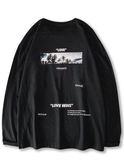Love Promise Palm Tree Graphic T-shirt - Black M