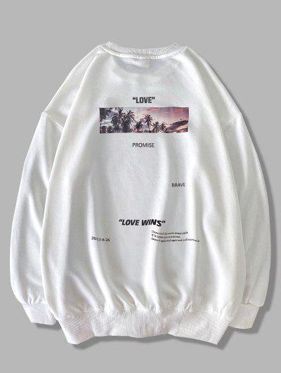 Palm Tree Love Promise Letter Print Sweatshirt - White L