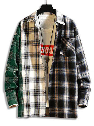 Camisa Con Bolsillo Y Estampado A Cuadros - Verde Oscuro M