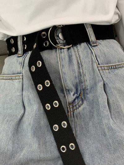 Double Row Rings Canvas Belt - Black