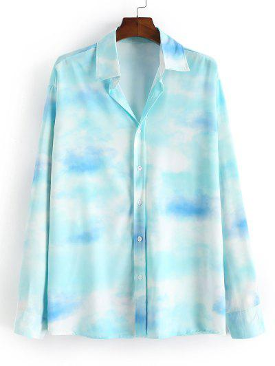 Tie Dye Sky Print Button Up Shirt - Crystal Blue L
