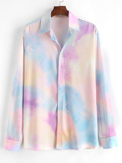 Colorful Tie Dye Print Button Up Shirt - Blue Koi L