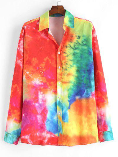Colorful Tie Dye Print Button Up Shirt - Orange S