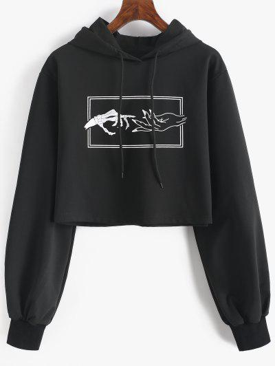 Skeleton Hand Drawstring Crop Hoodie - Black L