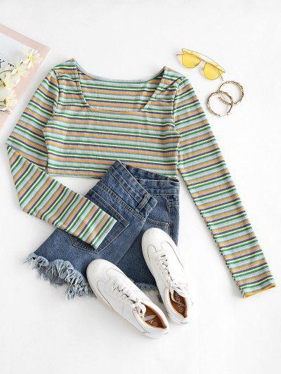 Cropped Multicolored Stripes Ribbed Tee - Multi-a L
