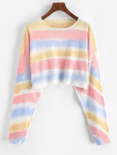 Crew Neck Tie Dye Stripes Cropped Sweater - Yellow