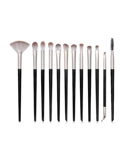 12Pcs Eye Makeup Brushes Set - Black