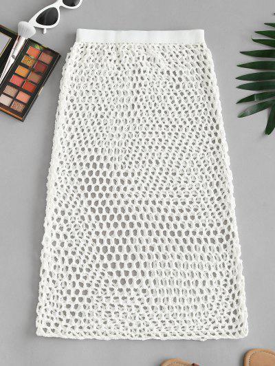Openwork Crochet Knit Bodycon Cover-up Skirt - White