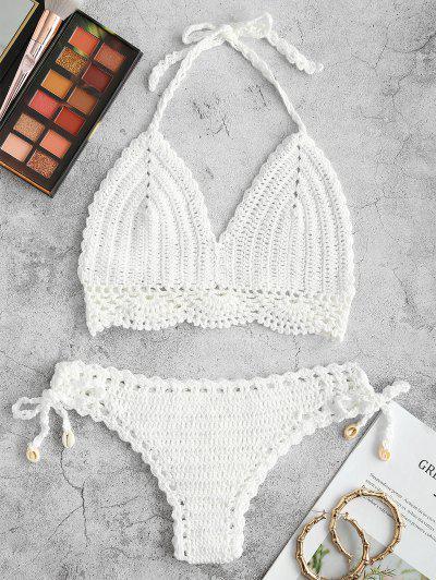 Halter Crochet Tie Side Shell Bikini Swimwear - White S