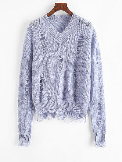 Solid Distressed V Neck Sweater - Light Blue