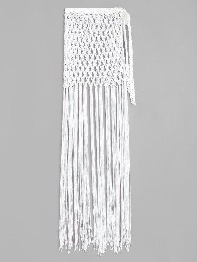 Tassel Crochet Wrap Beach Skirt - White