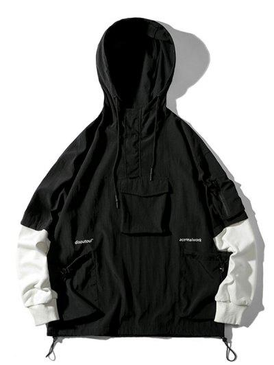 Letter Print Faux Twinset Cargo Pullover Hooded Jacket - Black 3xl