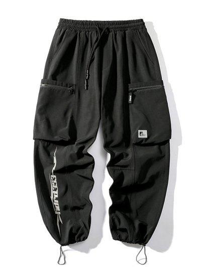 ポケットパッチ文字柄堅牢カーゴパンツ - 黒 3xl