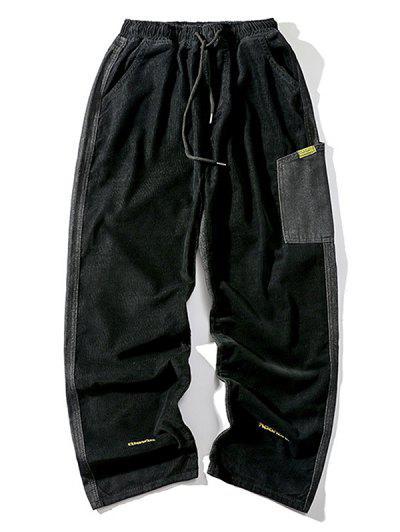 Letter Embroidery Jean Corduroy Panel Pants - Black Xl