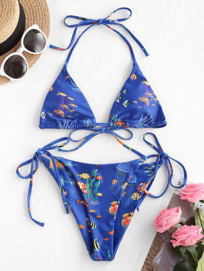 ZAFUL Halter Infauna Print Tie String Bikini Swimwear - Blue S