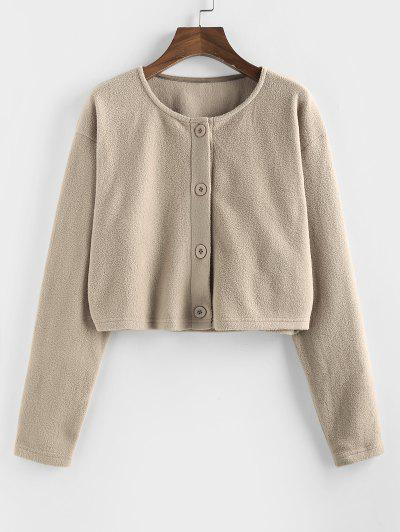 Button Up Fleece Crop Jacket - Tan S