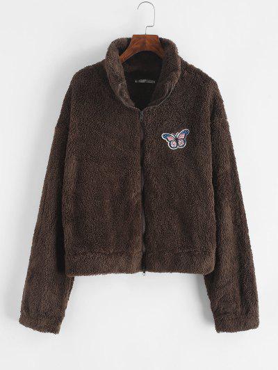 Faux Fur Butterfly Applique Drop Shoulder Coat - Deep Coffee M