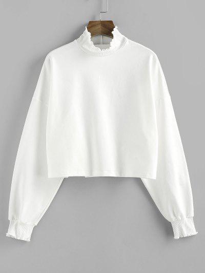 ZAFUL Ruffle High Neck Drop Shoulder Sweatshirt - White L