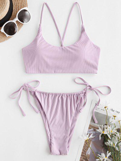 ZAFUL Ribbed Cross Tie Side Tanga Bikini Swimwear - Light Purple L