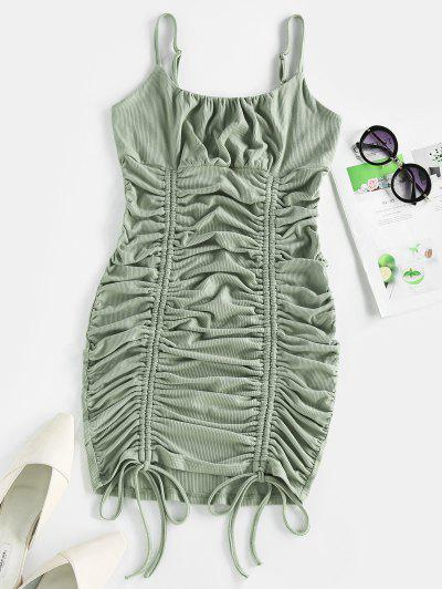 ZAFUL Ribbed Cinched Ruched Bust Bodycon Dress - Dark Sea Green M