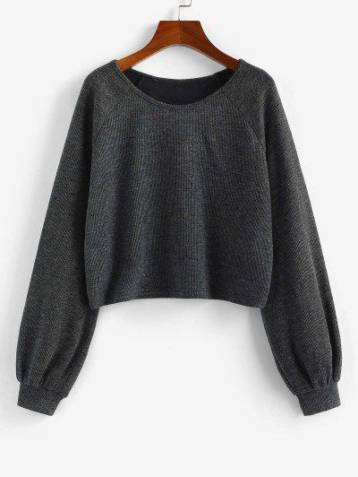 ZAFUL Raglan Sleeve Marled Pullover Sweatshirt - Ash Gray S