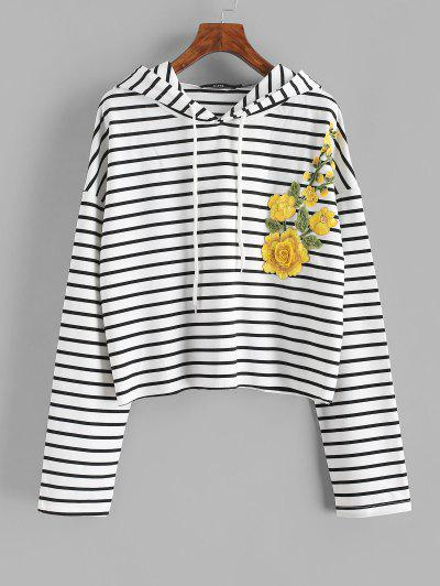Drawstring Stripes Floral Embroidered Patched Hoodie - White L