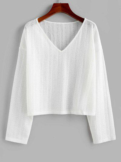 ZAFUL V Neck Drop Shoulder Jumper Knitwear - White S
