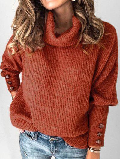 Plus Size Drop Shoulder Turtleneck Sweater - Café 1x