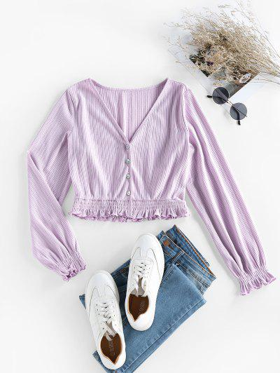 ZAFUL Ribbed Smocked Ruffle Crop Cardigan - Light Purple M