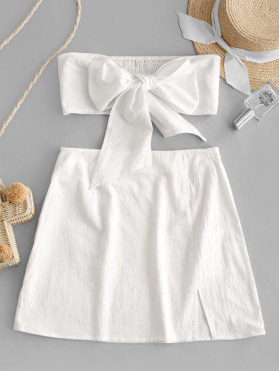 Olivia Messler X ZAFUL Tie Front Smocked Slit Two Piece Suit - Milk White L