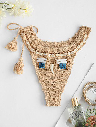 Tie Side Crochet Tassel Seashell Bikini Bottom - Light Coffee