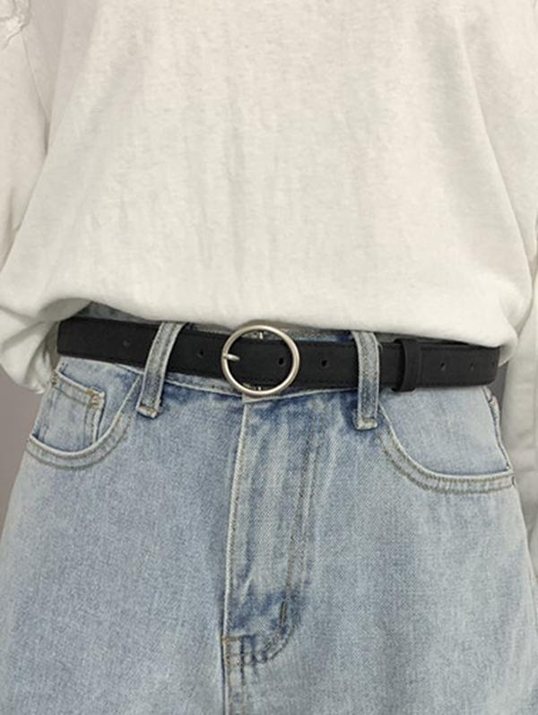 PU Leather O-ring Buckle Waist Belt