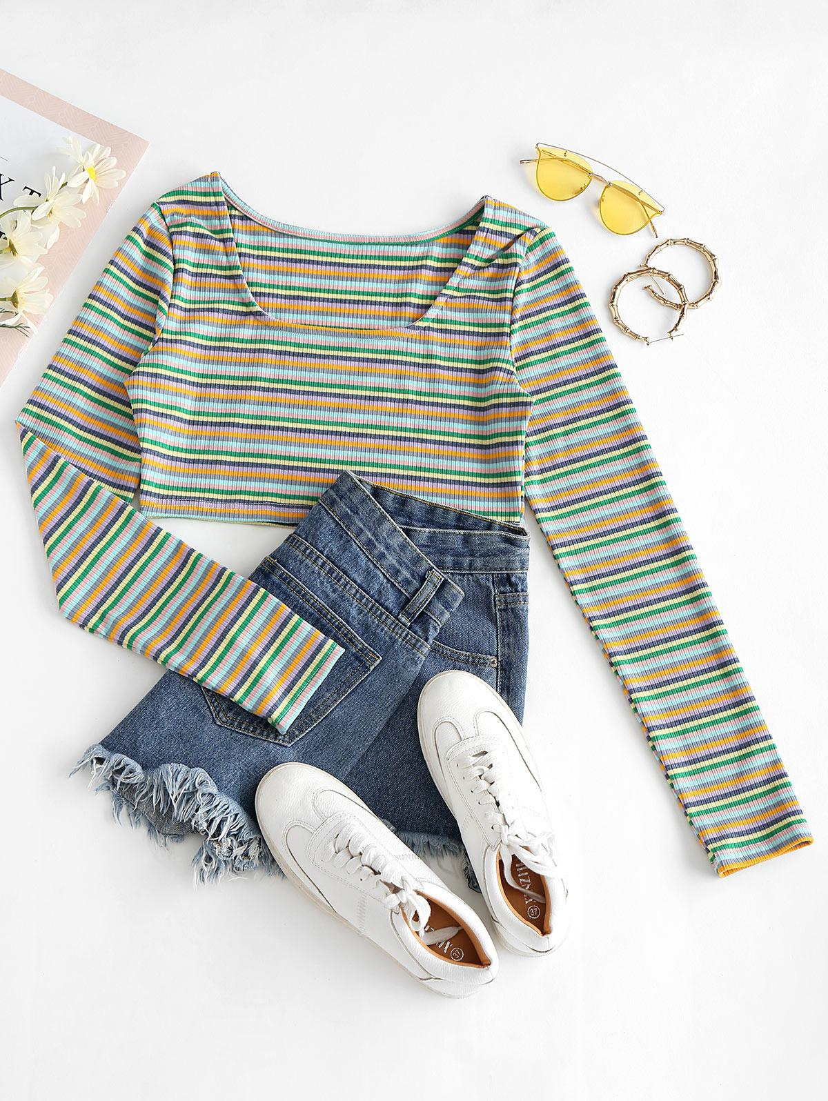 Cropped Multicolored Stripes Ribbed Tee