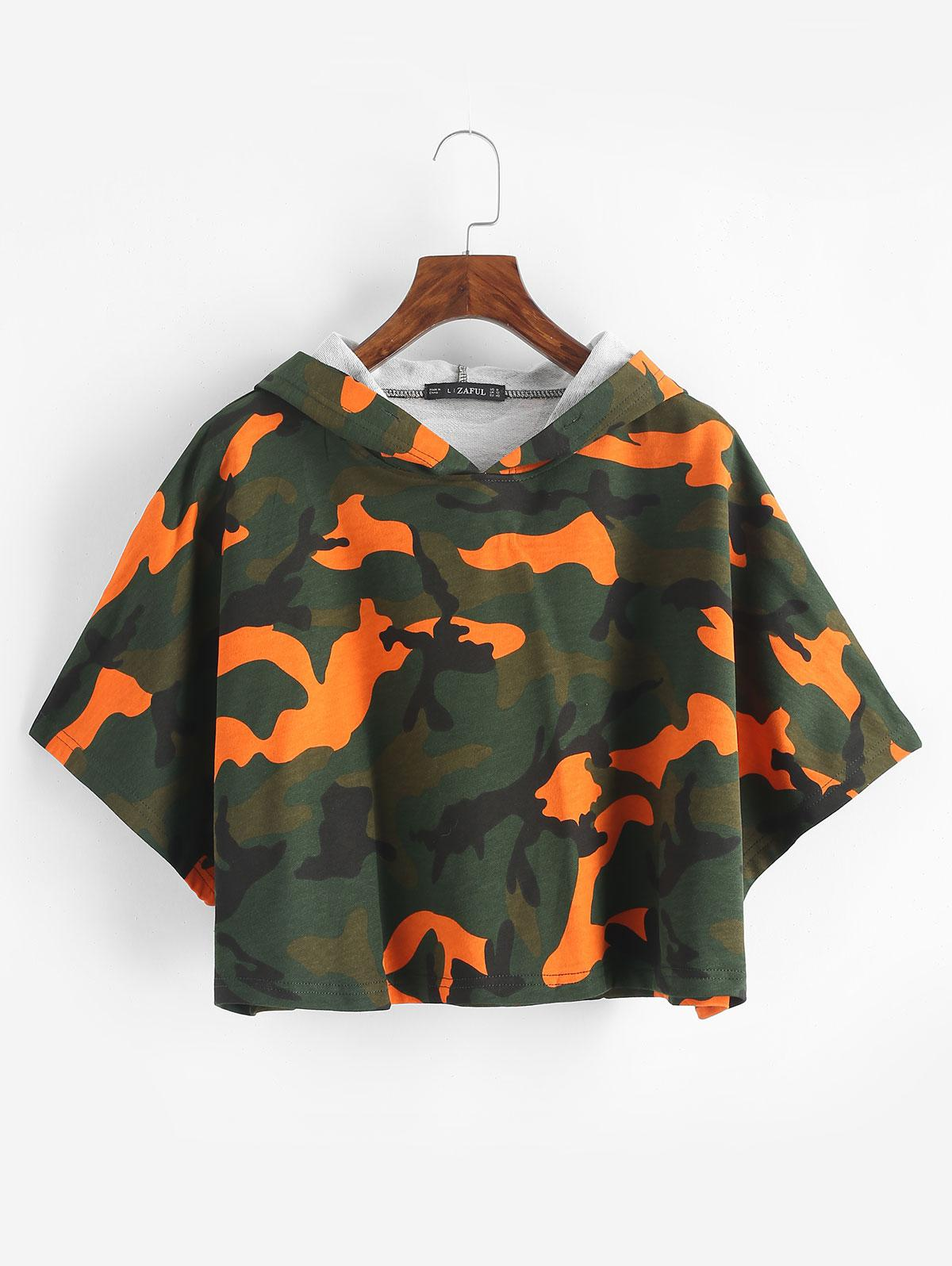 Camo Print Drop Shoulder Cropped Pullover Hoodie