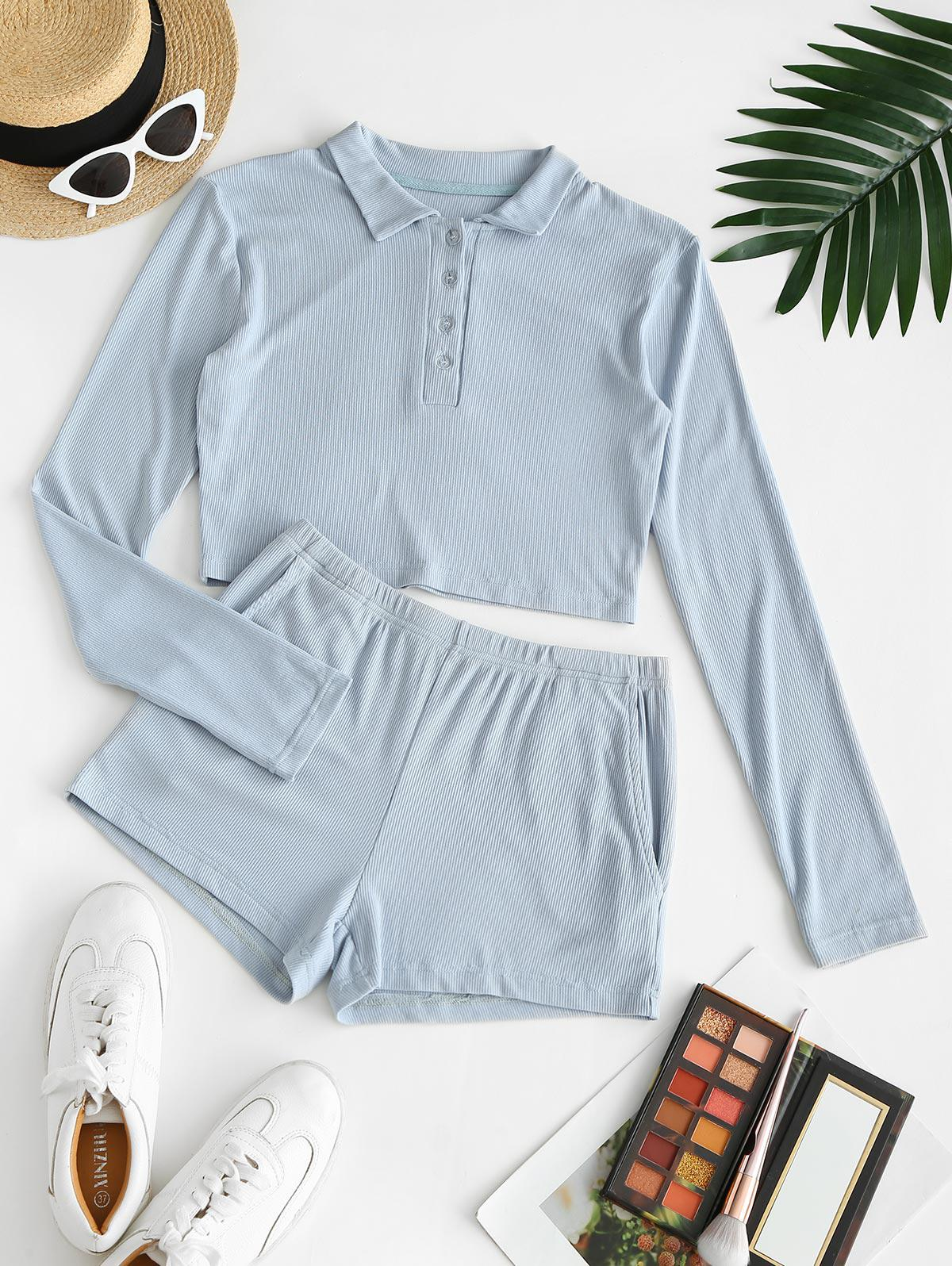 Pockets Button Front Ribbed Two Piece Set