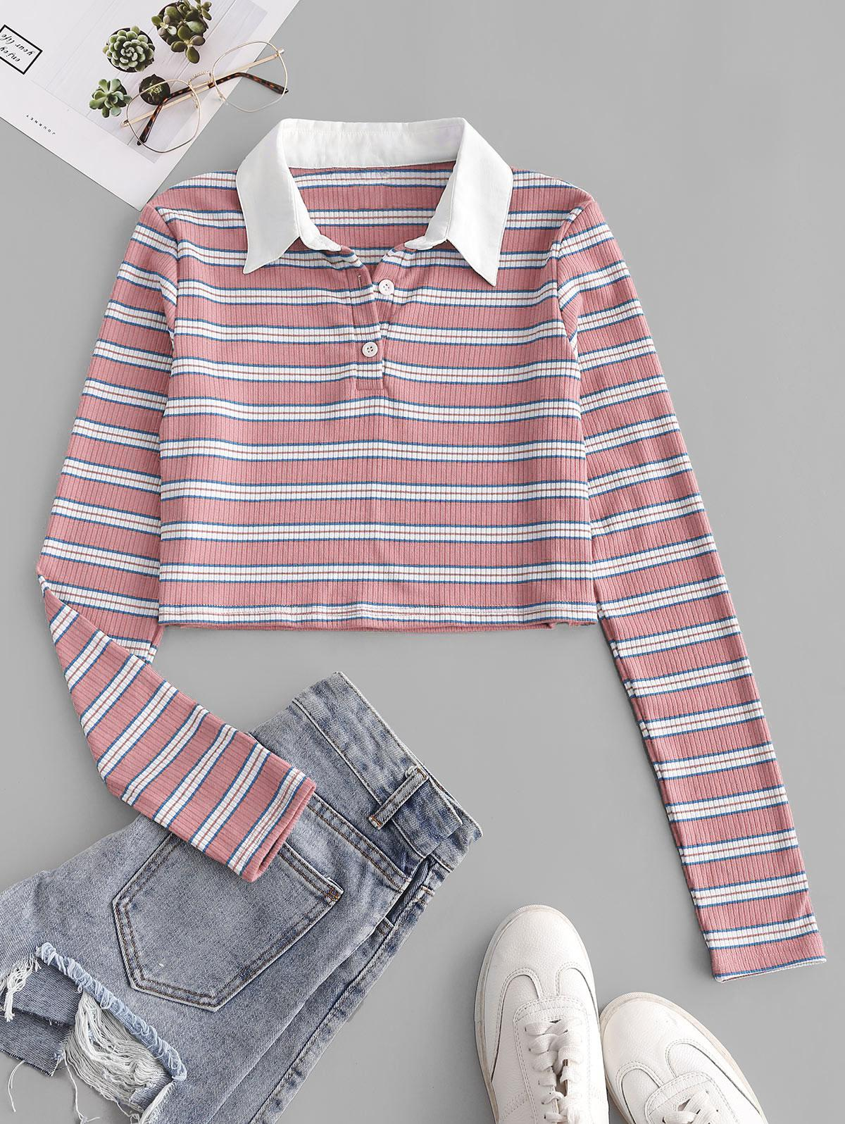 ZAFUL Ribbed Stripes Half Buttoned Cropped Tee, Light pink