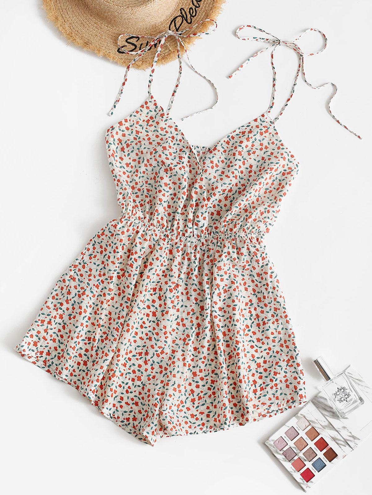 ZAFUL Tiny Floral Surplice Wide Leg Romper