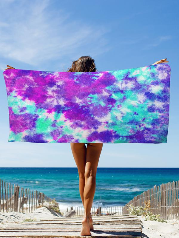 Colorblock Tie Dye Seaside Beach Throw
