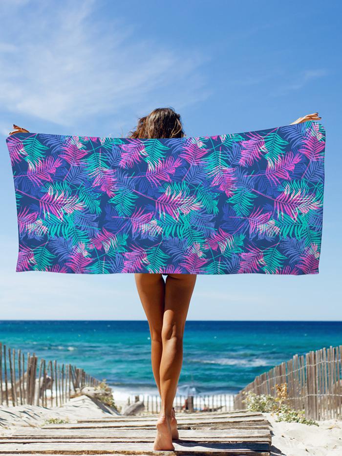 Tropical Leaf Printed Beach Throw