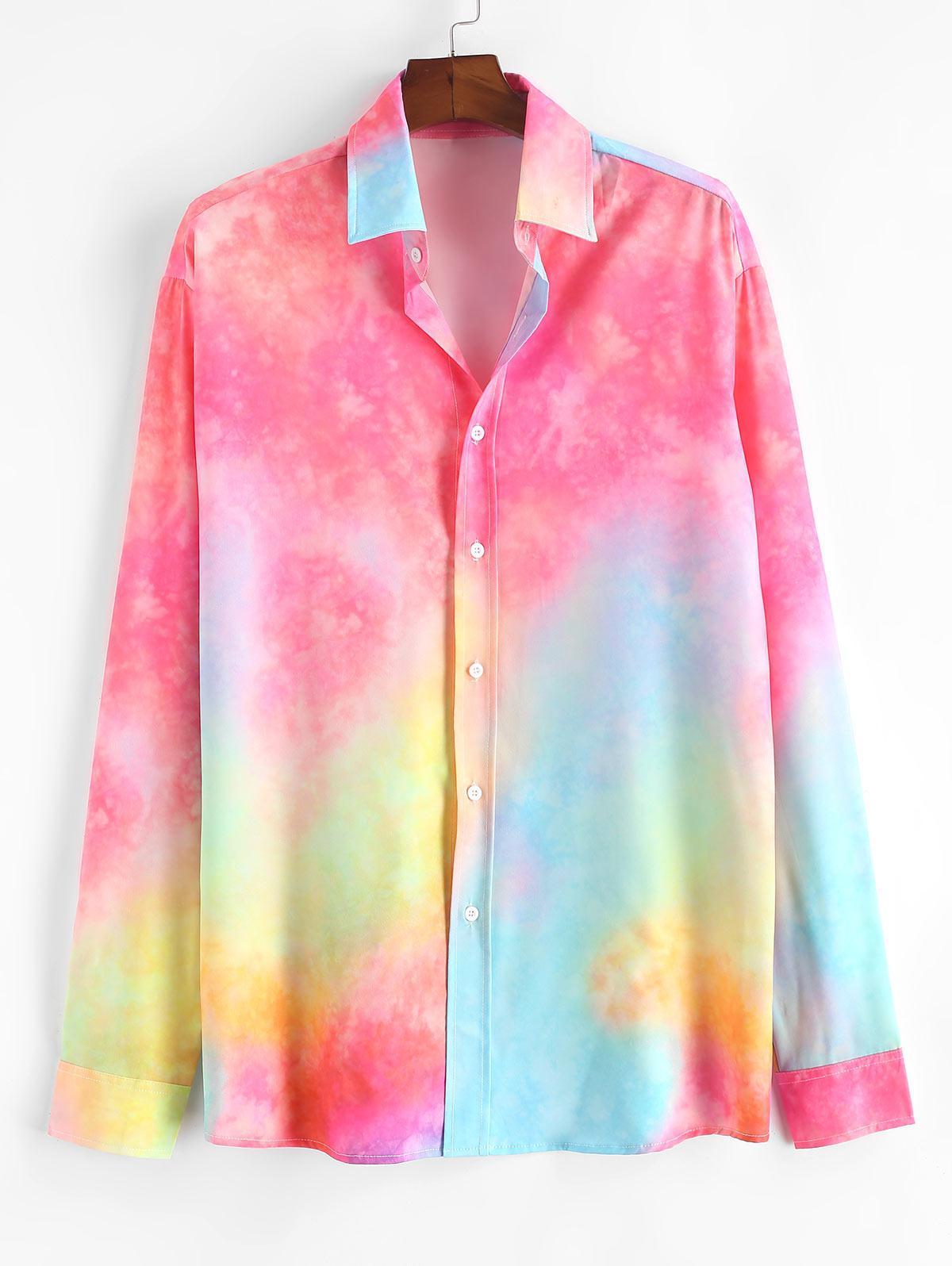 Chemise Colorée Teintée Imprimée Boutonnée - ZAFUL - Modalova