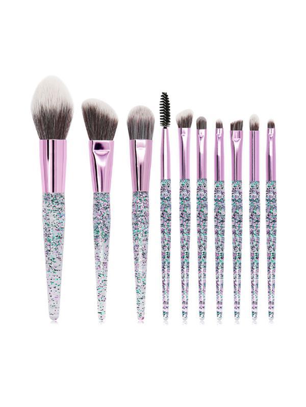 10Pcs Glitter Handle Makeup Brush Set