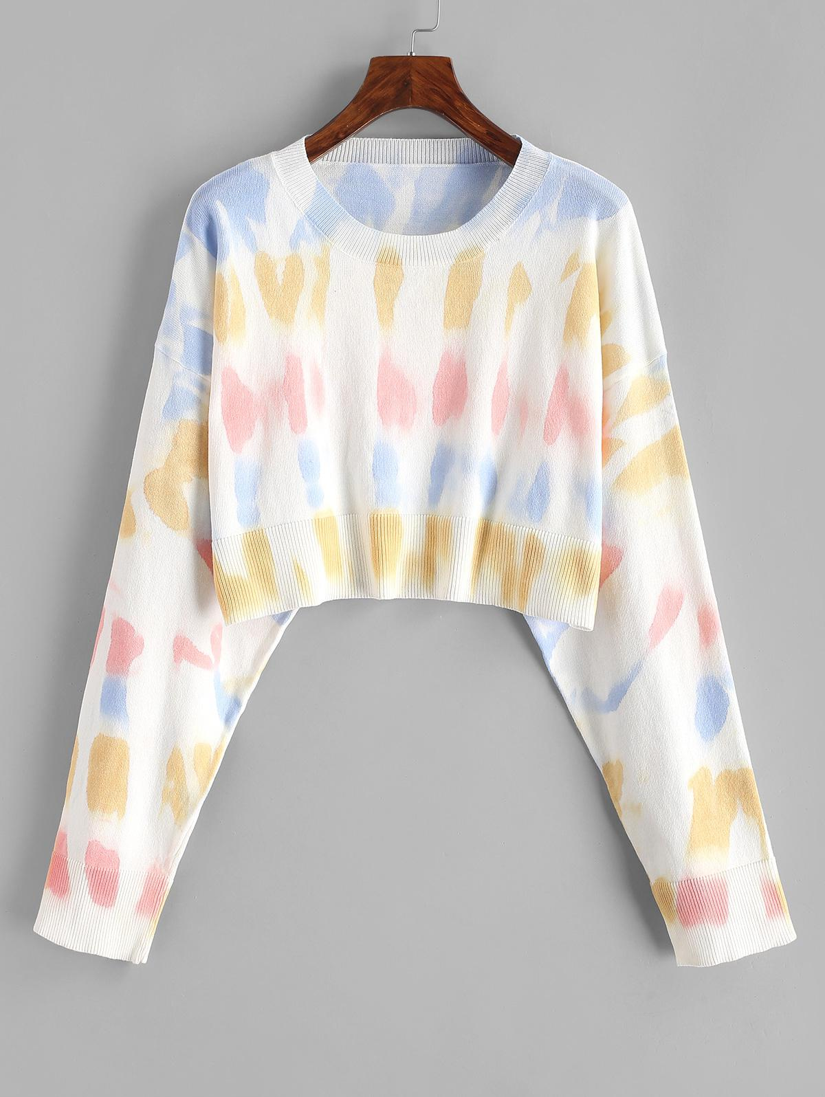 Crew Neck Cropped Tie Dye Sweater