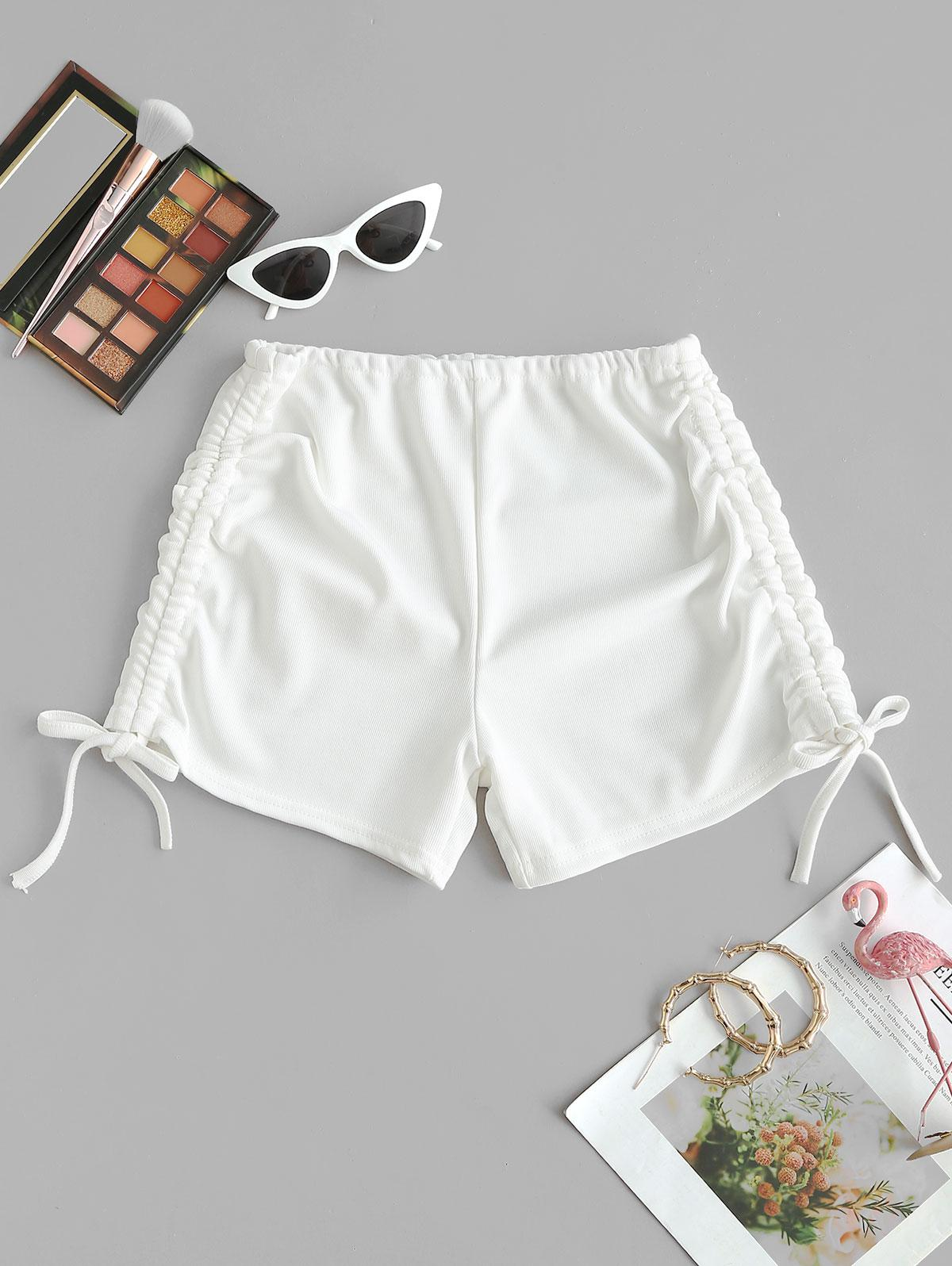 Ribbed Cinched Tie Ruched Beach Shorts