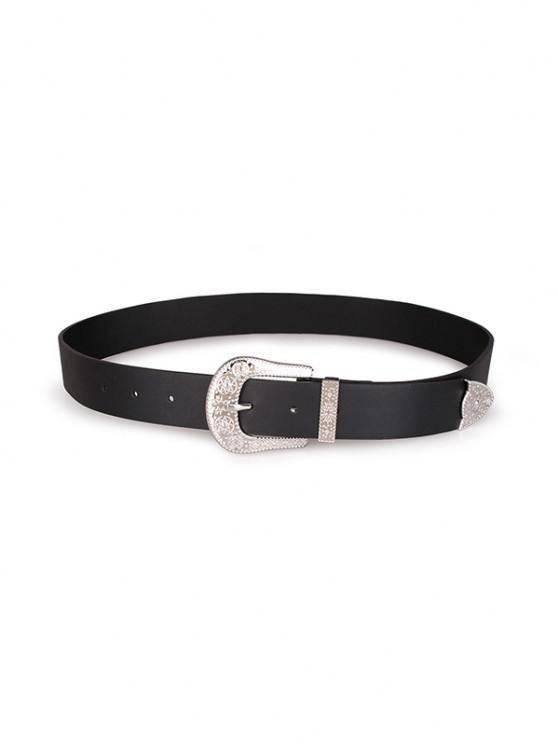 Embossed Star Pattern Buckle PU Leather Waist Belt - أسود