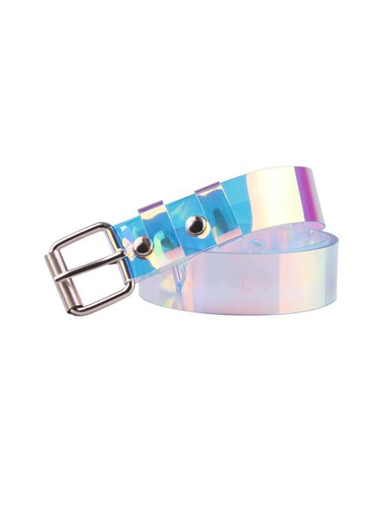 fancy Y2K Transparent Holography Square Buckle Belt - SILVER
