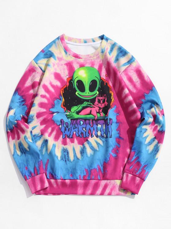 chic Tie Dye ET Cat Print Pullover Sweatshirt - ROSE RED 3XL